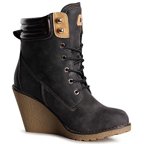 topschuhe24 1063 Damen Stiefeletten Keilabsatz Plateau Boots Grau