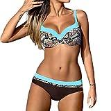 gaddrt Bikini Set Damen Padded Push-Up-BH Badeanzug Badeanzug Bademode Beachwear (Blau1, XL)