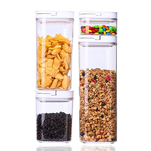 CERBIOR Vakuum Vorratsdosen & Frischhaltedosen   4er-Set   BPA frei & spülmaschinengeeignet   luftdicht & wasserdicht   Aufbewahrungsdose & Vorratsbehälter mit Selbstklebendem Beschriftungsetikett