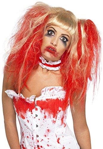 Smiffys, Damen Bluttropfen Perücke, One Size, Rot und Blond, 35768