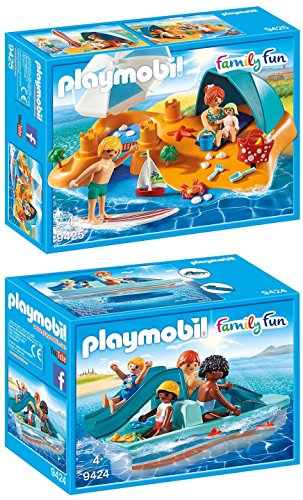 PLAYMOBIL® Family Fun 2er Set 9424 9425 Tretboot + Familie am Strand