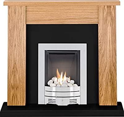 The New England Oak & Black Granite with Crystal Diamond Contemporary Fire Brushed Steel, 54 Inch