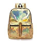 Rucksack Frauen Silber Hologramm Tasche Für Teenager Mädchen Leder Holographische Schultasche Reisetaschen XA1076H Gold