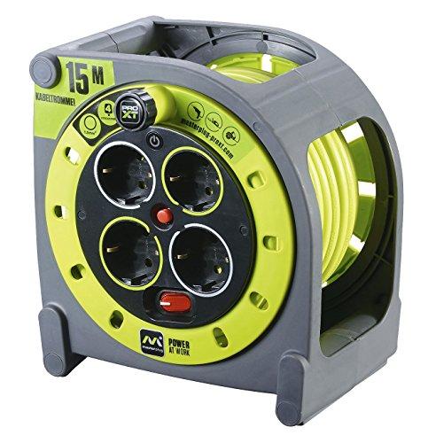 Masterplug Pro-XT KASSETTE M Kabeltrommel Kabelbox 15m mit 4 Steckdosen, Schalter und Thermoschutz