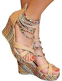 Odema Sandalias de Cuna de Estilo Bohemio Decoradas con Perlas Artificiales para Mujer