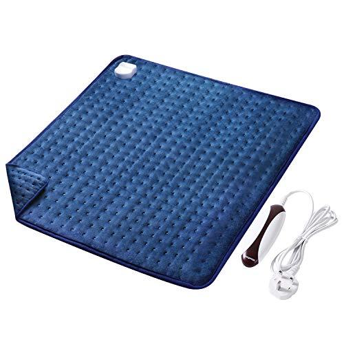 Almohadilla Eléctrica Térmica (50 x 60 cm) con Función de Apagado Automático 5 Grados de Calefacción Terapéuticos Franela Suave Alivio Muscular para Espalda Cuello Hombro