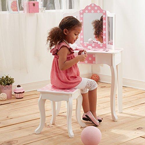 Teamson Kids TD-11670F Schminktisch mit Hocker Fashion Prints Polka Dots - Frisiertisch für Kinder, mehrfarbig -