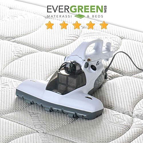 Evergreenweb - Aspirapolvere portatile per Materasso con LAMPADA UV Antibatterica con filtro HEPA lavabile Sterilizzatore per Casa contro Acari ULTRA BRUSH Multifunzione x Cuscini Letti Coperte Divani