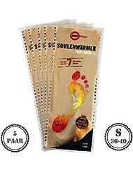 5pares cálido Pack Suela calentador S | agradable wärmepads | tejido de rizo suave y cojín de calor, 7horas Reconfortante térmica, 5unidades, tamaño S