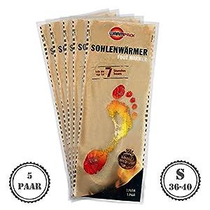 Warmpack 5 Paar Sohlenwärmer S | angenehme Wärmepads | kuschlig weiches Wärmekissen | 7 Stunden wohltuende Wärme | 5er Pack | Größe S