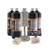 Höfer Chemie Öllampe im Set - 2X Docht und 4 x 1 Liter Lampenöl