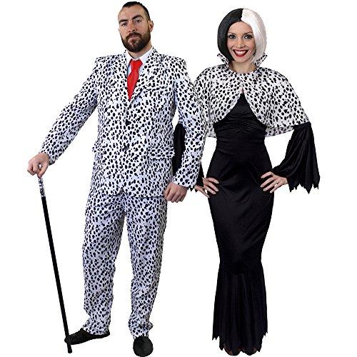 ILOVEFANCYDRESS Dalmatiner Paare KOSTÜM VERKLEIDUNG Fasching Karneval=Gothic Kleid +Cape+PERÜCKE+Hosenanzug+Krawatte=Frauen-XXXLarge+ MÄNNER-XLarge