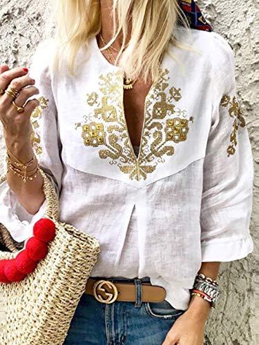 Swallowuk Damen Elegant Bohemian Langarm Deep V Neck Lässige Tunika Tops Floral Print Lose Hemd Blusen (S, Weiß) - Deep V-neck Tunika Top