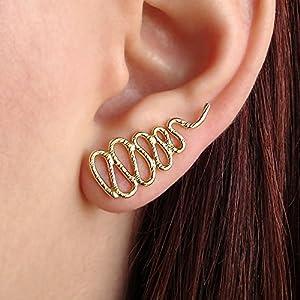 Gold Schlange Ohr Manschetten in Sterlingsilber, handgemachten Schmuck von Emmanuela, minimal Ohrring Manschetten, gold…