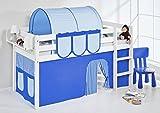 Spielbett JELLE 90 x 190 Blau - TÜV & GS geprüft - weiß - Hochbett mit Vorhang und Lattenrost - LILOKIDS
