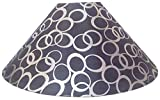 "RDC 13"" Round Black with Silver Polka Dots Designer Lamp Shade for Table or Floor Lamp"