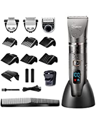 Hatteker Professional Hair Clipper Cordless Clippers Hair Trimmer Beard Shaver Detail Trimmer 3 in 1 Hair Cutting Kit for Men and Family Use Waterproof