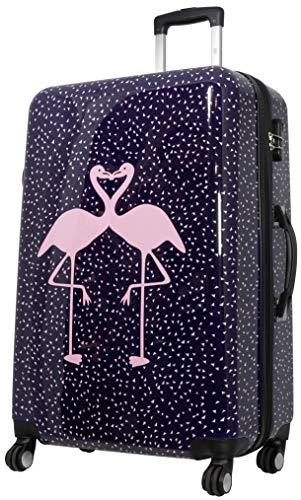 Trendyshop365 großer bunter Hartschalen Reisekoffer - Flamingo Motiv - 77 Zentimeter 4 Rollen Tiermotiv