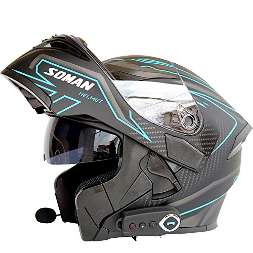 Casco Moto Bluetooth Casco Cross Country modulare D.O.T Certificazione Bluetooth + FM Radio Flip up Casco Moto Integrale,Blue,L