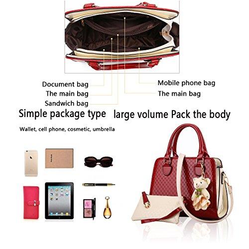 Tisdaini Damen Handtasche Mode Tasche Tasche Schulter Messenger Bag Damen Retro Brieftasche Anhänger Bär Rotwein