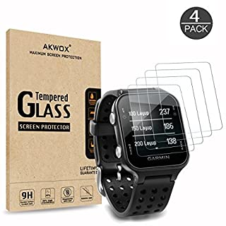 AKWOX (Pack of 4) Tempered Glass Screen Protector for Garmin Approach S20, [0.3mm 2.5D High Definition 9H] Premium Clear Screen Protective Film for Garmin Approach S20