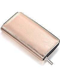 d5116ebc89e0fb Damen Geldbörse weich im Metallic-Look mit Reißverschluss Portemonnaie in  Gold Silber Rosegold oder Grau