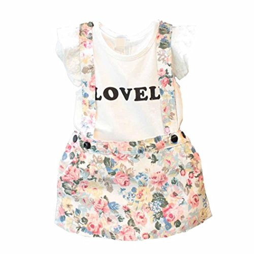 Kids Tshirts+Skirts Outfits, Transer® 1 Set Baby Girl Tops T-shirt+Overalls Strap Short Skirt Outfits Floral Pants Clothes 2-7 Years Toddlers Outfit Mini Dress Clothes Set (6-7 Years, White)