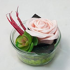Rundes Tischgesteck mit rosa Schaumstoff Rose-Tischdeko mit künstlicher Blume u. Pflanze