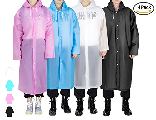 Regenjacken Wiederverwendbar Regenponcho, Umweltfreundliche EVA Regenmantel, Wasserdicht Regenjacke mit Aufbewahrungstasche für Regenschutz - By EnergeticSky™ (Schwarz/Weiße/Blau/Rosa-4 Pack)