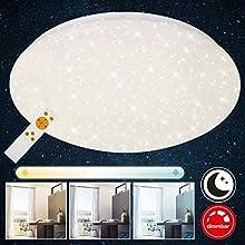 Briloner Leuchten Plafonnier LED dimmable avec décor étoilé – Couleur de température réglable avec télécommande – Idéal pour la chambre à coucher