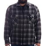 Hoang Thermohemd - Arbeiterjacke mit Teddyfell in zeitlosen Karos, Holzfäller Jacke Hemd, Farbe:Schwarz;Größe:M