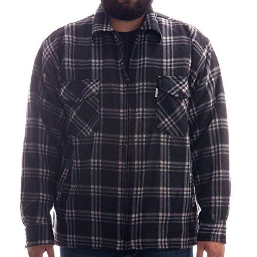Hoang Thermohemd - Arbeiterjacke mit Teddyfell in zeitlosen Karos, Holzfäller Jacke Hemd, Farbe:Schwarz;Größe:L