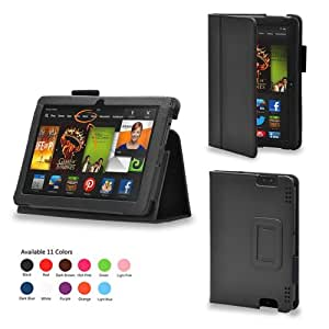 iZKA® - Amazon Kindle HDX 7 inch Tablet Leather Case Cover and Flip Stand Typing Wallet + ProPen Stylus Pen (2013 Model Fits All Versions - 16GB, 32GB & 64GB Wi-Fi + 4G LTE) - (Black)