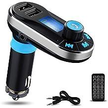 Reproductor de MP3 Bluetooth para el Coche Yokkao® Transmisor FM Mando a Distancia, Manos Libres Tarjeta de memoria SD/ Pen Drive/ AUX/ Radio FM Dos puertos USB para Cargar Dispositivos Smartphone/iPhone/Samsung y otros (Plateado/Plata)