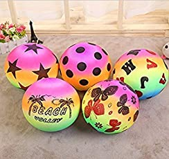 Fun Store Colorful Rainbow Color Inflatable Beach Ball Set of 3