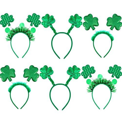 6 Stück St. Patrick's Day Stirnbänder Shamrock Headbopper Kostüm Stirnbänder für Irish Party Accessoires, 3 - Parade Qualität Kostüm