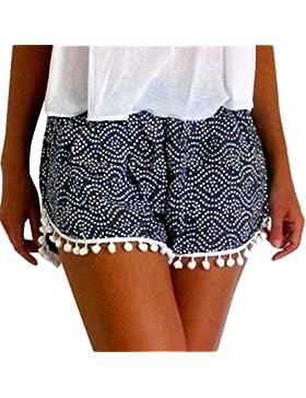 BaZhaHei de Mujer Pantalón, Pantalones Mujeres Lunares Alta Cintura Borla Pantalones Cortos Casuales Pantalones...