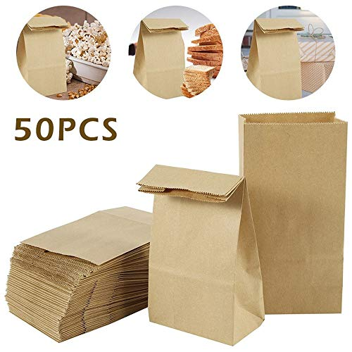 50pcs Carta Kraft Bags Food Tea Small Gift Bag Sandwich Bags Party Wedding Supplies Wrapping Gift Take -out Bag ecologico