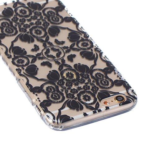 SainCat Custodia iPhone 6 6s 4.7 Pollice,Fashion Design Ultra Slim Morbido Flessibile Trasparente Soft TPU Gel SiliCon Thin Painting Case Caso Cover,Clear Sottile Copertina Antiurto Protecttivo Shell  Fiore Nero
