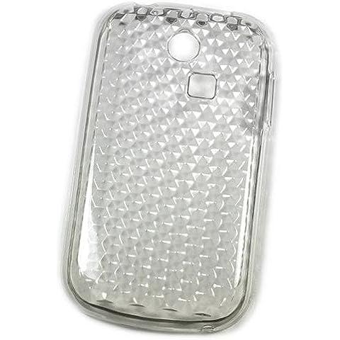 So'axess TPUSGS335002 - Carcasa rígida para Samsung Ch@t 335 (silicona), diseño de efecto diamante, color blanco