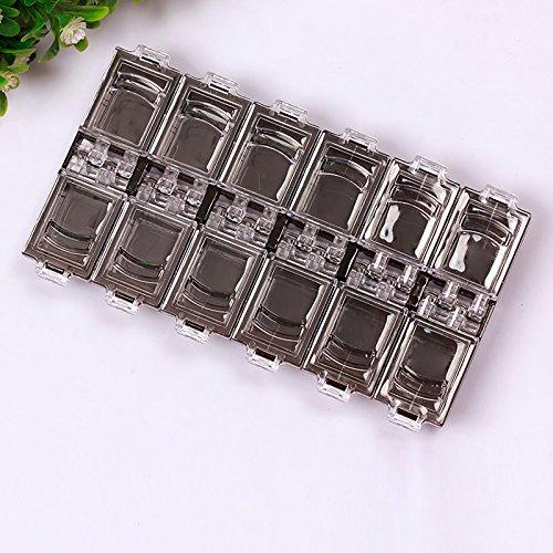 lzndeal 12 Compartiments Nail Art Boitier de Rangement ongles transparent en Plastique pour Faux Ongles Capsule Boucles d'oreilles Bague en strass perles
