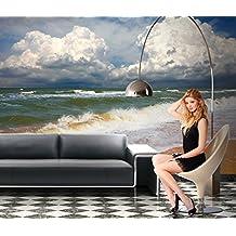 Papel Pintado Fotográfico de Mar Playa 300x 250cm–cuadro de pared papel pintado para cenefa gigante de Cars Auto Póster Kids Wall Mural Children Wallpaper