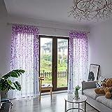 ToDIDAF Transparente Gardinen Vorhang, Willow Vorhänge Tüll Fenster Behandlung Voile Drapieren Volant, 1 Paneelstoff für Wohnzimmer Schlafzimmer Kinderzimmer Balkon Deko 100 x 200 cm (Lila)