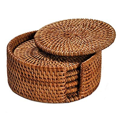 PeiGee Drink Coasters Set of 6 Handcraft Round Vine Plant Coasters with Holder Chic Natural Furniture - Bar Kitchen Dining Accessories - Office Table Essentials