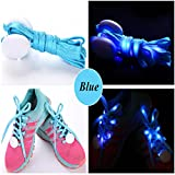 JERN Cool Fashion Light up LED Shoelaces Flash Party Skating Glowing Shoe Laces for Boys Girls Fashion Self Luminous Shoe Strings (Blue)