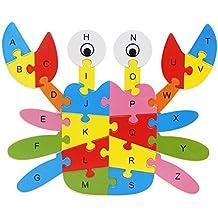 Youkara 1 Pc 26 Letras y Alfabeto 3D Rompecabezas de Madera Juguetes Rompecabezas Animal de Aprendizaje