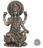 Lakshmi - Kit de Suministro de Altar - 4 Pulgadas de Alto Bronce Fundido en frío Estatua Lakshmi Hindú Diosa de la Riqueza y la Prosperidad ~ Adorno de Lotus Sri Yantra