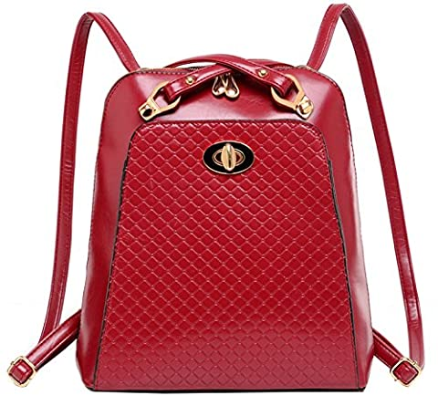 Tina Women's Fashion Quilted PU Leather Shoulder Bag Backpack Red