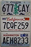 3 USA Nummernschilder als SET mit den Kennzeichen der US-Staaten an der Westküste : CALIFORNIA ~ OREGON ~ WASHINGTON # Blechschilder / KFZ Schilder / License Plates Lot