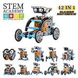 Wenosda Solar Robot Toy STEM 12-in-1 educatief bouwspeelgoed DIY Science Experiment Kit 190 stuks coderingsrobots Engineering Set Powered by the Sun for Kids Boys & Girls (12-in-1)